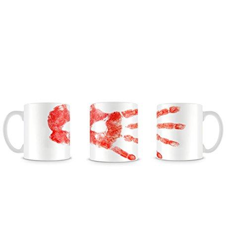 Hand Print in Blood Red Horror Goth Grunge Design Tasse ()