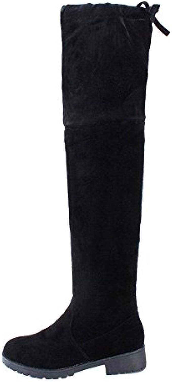 KINDOYO Mujer Moda Otoño de invierno tacón medio Botas Inferior Pierna alta de rodilla botas calentar zapatos