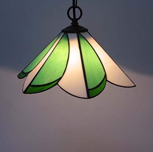 Yjmgrowing Tiffany Style Hängelampe 12-Zoll-Glasmalerei Anhänger Beleuchtung Retro grüne hängende Deckenleuchte für Esszimmer-Korridor,E27,5w (30 * 80cm) -
