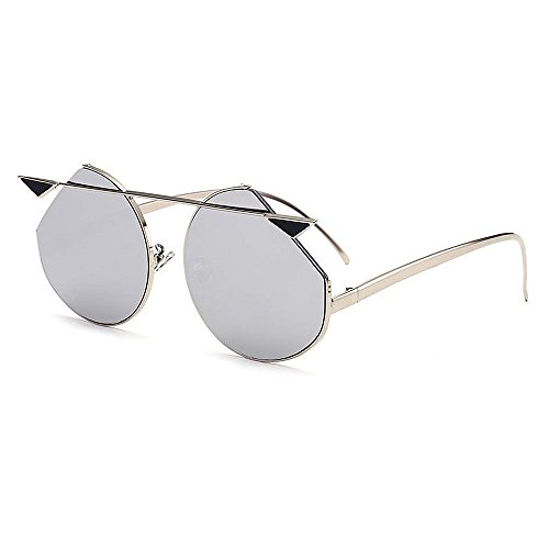 Yiph-Sunglass Sonnenbrillen Mode Persönlichkeit Katzenaugen Metall umrandeten Sonnenbrillen für Frauen UV-Schutz für Outdoor Driving Ferien Sommer Strand (Farbe : Silber)