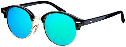Sonnenbrille Halbrahmen La Optica UV 400 Schutz Unisex Damen Herren Gold Rund Round - Schwarz Gold (Gläser: Grün verspiegelt)