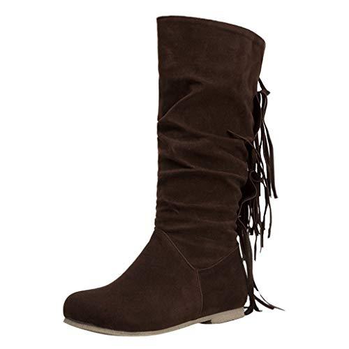 Watopi Damen Wildleder Stiefel Lange Fransen Winter bestickte Stiefel Mode Stiefel Langes Rohr Damenschuhe Slouch Stiefel