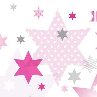 anna wand Bordüre selbstklebend STARS 4 GIRLS - Wandbordüre Kinderzimmer / Babyzimmer mit Stern-Motiven in Rosa-Grau Tönen - Wandtattoo...
