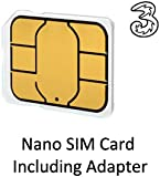 Three Pre-Pay / Pay as you go / Nano Sim Card for Apple iPad Mini / iPhone 5 (includes £15.00 credit) with 4FF Micro SIM Adapter