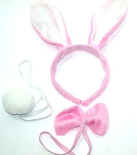 Häschen-Set Bugs Bunny rosa weiß, Kopf, Fliege, Schwänzchen, Körperteile für Erwachsenen oder Kind