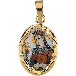 14kt giallo 13x 10mm St. Barbara Medaglia In Porcellana dipinto a mano