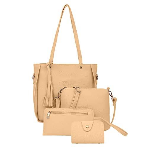 Taktom 2019 Damen Schultertasche Handtasche Tragetasche Neue Mode Umhängetasche Messenger Bag Wallet Henkeltasche Set 4-teiliges Set Schwarz -