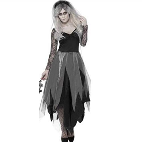 Halloween-Geist-Braut-Kostüm, Dame Makeup Dance Vampire Female Zombie Costume Cosplay Uniform,L