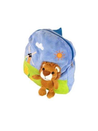 Kostüm Löwe Plüsch - Foxxeo 11010-STD | Deluxe Kinderrucksack Löwen Rucksack Plüsch braun Löwenrucksack 30 cm brauner Löwe Kind für Kinder Träger verstellbar
