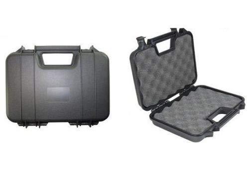 NEEZ Gewehr-Hartschalenkoffer für Pistolen Gewehrkoffer Schaumstoffeinlage mit Würfelraster (31cm schwarzes Gehäuse)