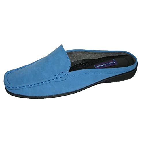 Ladies Shoreside Faux Nubuck Leather Slip on Mule Loafer Shoes Sizes 4 - 8  (UK8, Blue)