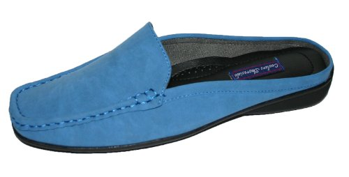 Damen Shoreside Nubuk-kunstleder Leder Slipper Maultier Halbschuhe Schuhgrößen 4 - 8 Blau