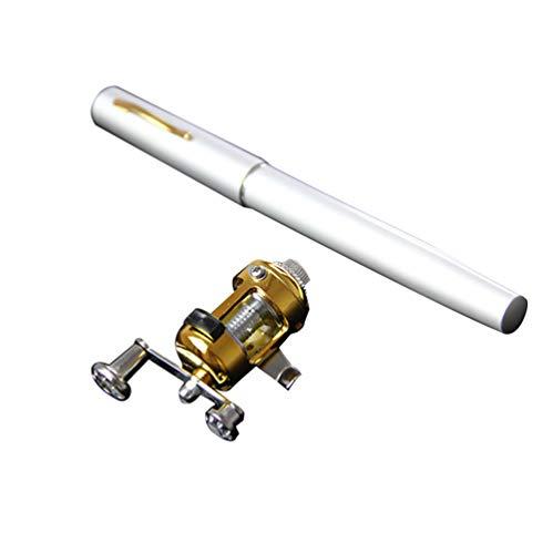 Heheja Mini Tragbar Kugelschreiber Angelrute mit Angelrolle Stift Angelrute Geeignet für Die Fischerei von Einem Boot (Silber)