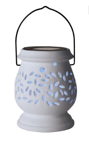 Lanterne solaire à LED Best Season en argile avec panneau solaire et batterie - Blanc - 477-46