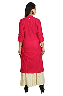 Attire Fashion Women's Cotton Printed Kurti (Pink, XL, 42, Length-44-inch)