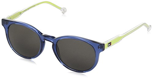 Tommy hilfiger th 1426/s nr y57 48 occhiali da sole, blu (bluette crystal yellow/brw grey), unisex-bambini