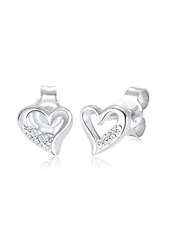 Diamore Damen Schmuck Ohrringe Ohrstecker Herz Liebe Freundschaft Liebesbeweis Silber 925 Diamant 0,06 Karat Silber