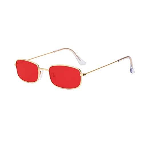 WENZHEN Vintage Kleine Metallrahmen Rechteck Sonnenbrille, rot