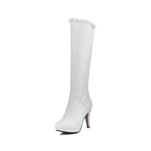 VogueZone009 Donna Punta Tonda Tacco Alto Media Altezza Puro Stivali con Sintetico Bianco