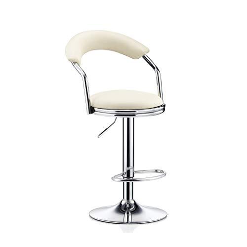 GXDHOME Hohe Barhocker, höhenverstellbares 360-Grad-Schwenker-weiches bequemes PU-Leder-Chrom-Edelstahl, der Wohnzimmer speist (Farbe : Weiß)