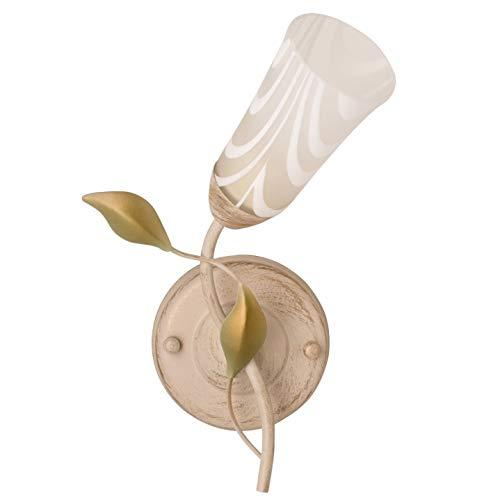Applique rustico vintage di metallo colore avorio ed oro coppa di vetro bianco opaco contemporaneo con pattern stile povera arte in camera da letto soggiorno salotto o ingresso
