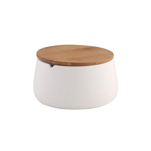 axentia Utensilienbecher Bonja Wellness, Vorratsdose in Weiß mit hellbraunem Bambusdeckel, Aufbewahrungsbox Ideal Fürs Bad, Maße: ca. 12,5 x 12,5 x 6,5 cm (Bambus Aufbewahrung)