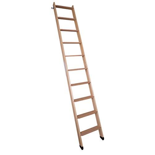 DOLLE Hochbettleiter aus Holz mit 10 Stufen | Geschosshöhe bis 245 cm |inkl. Fußkappen | Breite: 40 cm | Buche Stufen | Kiefer Holm | Anstellleiter