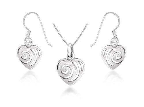 Tuscany Silver Set Ohrringe und Halskette Sterling Silber Swirl Herz 46cm/18zoll International Silver Swirl