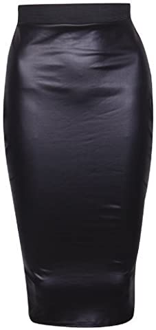 Womens Faux Leather Ladies Elastic Waistband Bodycon Stretch Wet Look Pencil Fitted Tube Black Midi Skirt Size 14 - 16