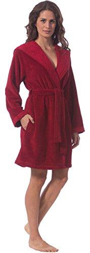 Morgenstern, Damen Kurzbademantel mit Kapuze, 90 cm lang, Größe L, Farbe kirschrot (rot), Softvelour