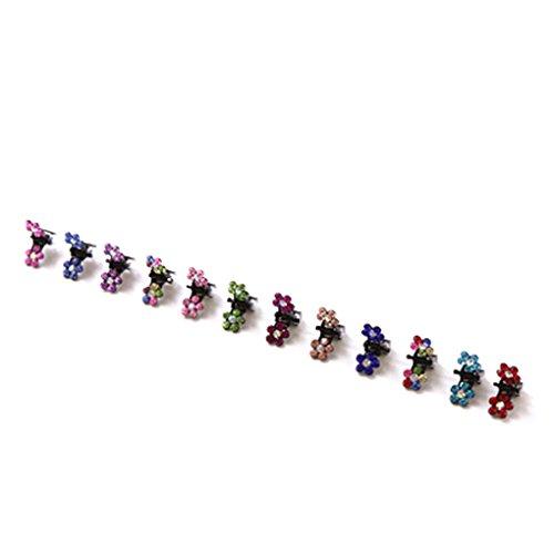 Bobury 12 PCS Filles Petites Fleurs En Cristal En Métal Cheveux Griffes Enfants Mini Strass Pince À Cheveux Enfants Cheveux Ornement Clips Bébé Épingles À Cheveux (couleur aléatoire)