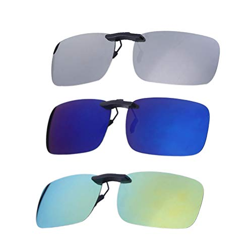 86ad7c9cdb VORCOOL 3pcs Gafas de Sol de Clip en Flip Up Lente polarizada sin Marco  Rectangle Lens