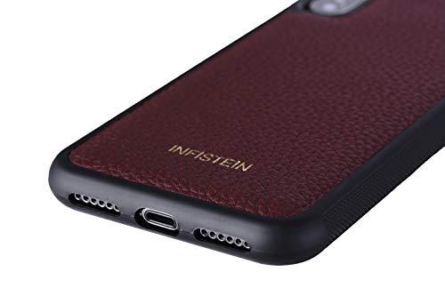 Infistein Handyhülle für iPhone 8 Plus Hülle Anti-Rutsch Schutzhülle Leather Leder Kalbsleder hochwertig Geschenk Business (iPhone 8 Plus/iPhone 7 Plus, Burg&y red)