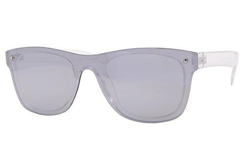 Cheapass Sonnenbrillen Wayfarer Silber Transparent Verspiegelt UV-400 Festival Accessoire Hipster Plastik Damen Herren
