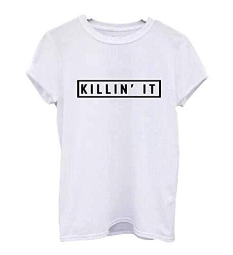 """Ularma Damen Baumwolle T-Shirt mit Buchstaben \""""KILLIN\' IT\"""" Kundkragen Kurzarm Bluse (38, weiß)"""
