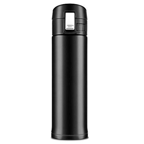 Newdora 500ml Thermos Borraccia di Isolamento Tazza da Viaggio da caffè, Bottiglia in Acciaio Inossidabile, 100% a Prova di perdite (Nero)