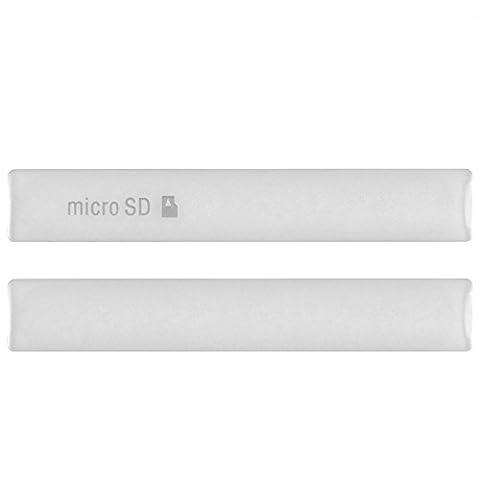 Hedywei Kappe Abdeckung Klappe für Sony Xperia Z3 Compact USB Port SD Card Slot Cover Silber (Sony Xperia Z3 Micro Sd Card)