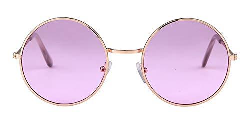 WSKPE Sonnenbrille Frauen Bunte Runde Sonnenbrille Kreis Rosa Linse Klein Sonnenbrille Tönung Schattierungen (Lila Objektiv)