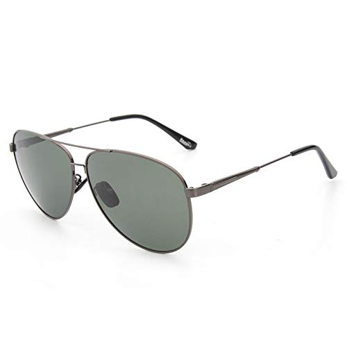 xinrongqu Sonnenbrillen - Herren Sonnenbrillen Metallic Polarized Sonnenbrillen Fahrerspiegel Sonnenbrillen Gun Frame Grün