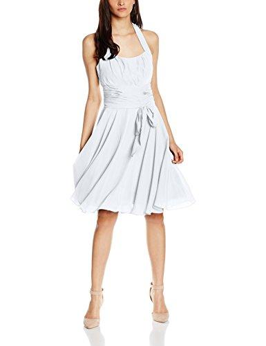 Astrapahl Damen Cocktail Kleid Neckholder, Knielang, Einfarbig, Gr. 32, Weiß