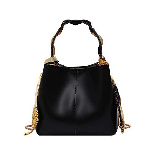 XZDCDJ Crossbody Tasche Damen Handtasche UmhängeTaschen Neue Sommer Eimer einfache Handtasche Mode schal mesenger Tasche Schwarz -