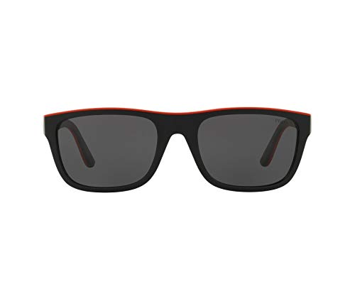 Ray-Ban Herren 0PH4145 Sonnenbrille, Weiß (Matte Black/Rubber Red), 56.0