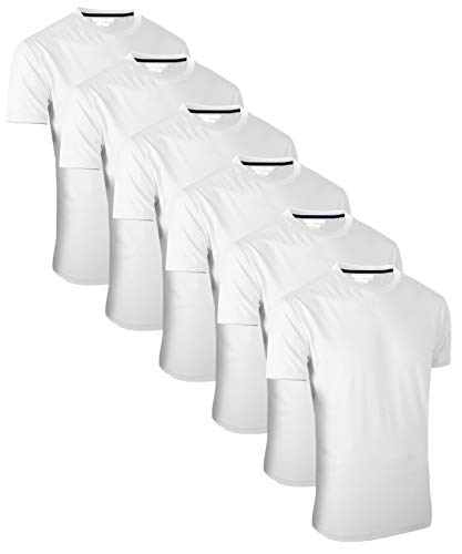 FULL TIME SPORTS® FTS-634 6 Pack All White Round Neck Tech T-Shirts (12) Large, White