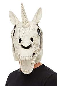 Hen Party Superstore Smiffys 50826 - Máscara de látex con diseño de calavera de unicornio, unisex, color blanco