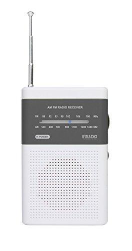 Irradio RF-52 Radio AM/FM Tascabile con Altoparlante, Bianco