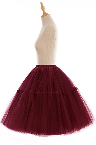 Babyonline Damen Tüllrock 5 Lage Prinzessin Falten Rock Tutu Organza Petticoat Ballettrock Unterrock Pettiskirt Weinrot