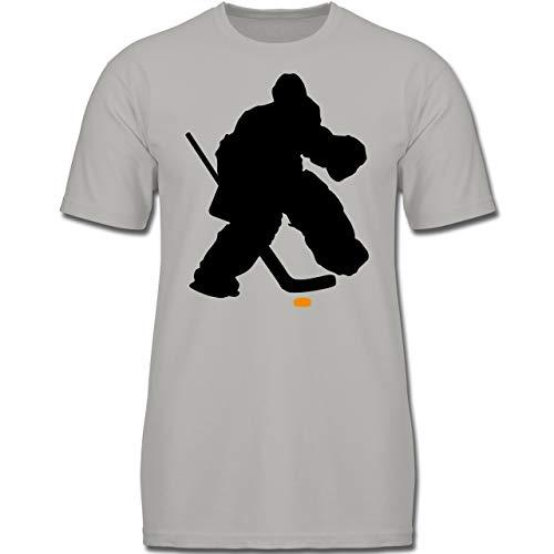 Sport Kind - Eishockeytorwart Towart Eishockey - 152 (12-13 Jahre) - Hellgrau - F130K - Jungen Kinder T-Shirt