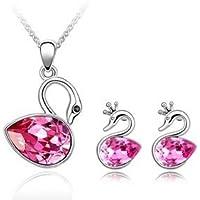 Set gioielleria da donna con cristallo Swarovski, ciondolo a forma di cigno reale Orecchini a bottone, colore: Rosa