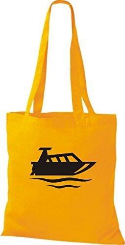 JUTA Tote Bag BARCA MOTORE, YACHT, barca, CAPITANO giallo dorato