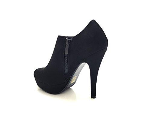 CHIC NANA . Chaussure femme bottine à talon aiguille plateforme, aspect daim, zip fantaisie. Noir